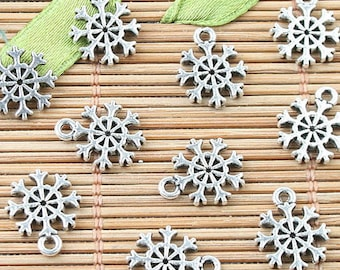 10 Snowflake Charms, Winter Charms, Snowflakes, Snow Charms, Christmas Charms, Water Charms, DIY Charms, Silver Charms, Jewelry Supplies