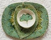 Snack Set, Serving Set, Fall Decor, Thanksgiving Decor, Teal platter, Ginkgo Leaf Dish, Stamped Platter, Lace Pottery, Textured Ceramic