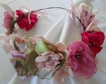 Flower crown, bridal headpiece, Headwreath, Pink Flower crown, rustic head wreath, wedding headband, bridal hair