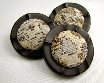 "Tapestry Centers: Large 1-1/2"" (38mm) Brown Buttons - Set of 3 Vintage Buttons"