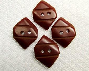 "Dark Saddle Brown: 1/2"" x 3/4"" (13mm x 19mm) Vintage Carved Plastic Buttons - Set of 4"