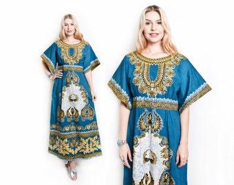 Vintage 60s Dress - DASHIKI Cotton Ethnic Hippie Boho Angel Sleeve Batik Maxi - Large
