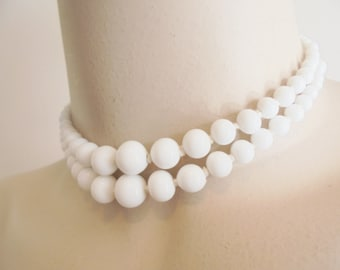 Vintage White Milk Glass Collar Necklace Double Strand Signed JAPAN Hand Knotted 1940's Statement Art Deco Runway Retro