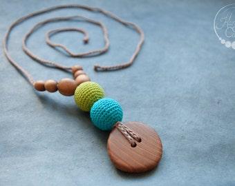 Apple & Turquoise Best Babywearing Nursing Necklace / Teething Necklace / Breastfeeding Jewelry for mom, Wood Teething Baby - Kangaroo Care