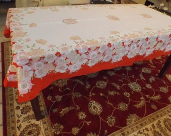 """116"""" Luxury huge NEW festive tablecloth.RARE. Collectible.Privet collection. Big family.Banquet,wedding. great gift.New old stock"""