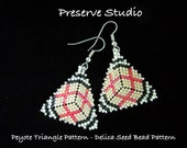 Plaid-Like Pattern Peyote Triangle Delica Seed Bead Pattern #3, Peyote Earring Pattern, DIY Earrings, Peyote Stitch, Triangle Earrings