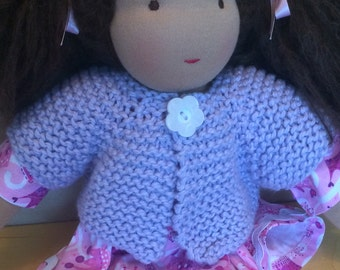 Organic Cotton Sweater for 16-inch Waldorf Doll  Hand Knit Cardigan Sweater for Waldorf Dolls  **Lavender**