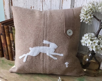 Running Rabbit Pillow Cover - White Bunny Silhouette Pillow, Recycled Wool Pillow, Rabbit Silhouette Pillow, Hare, 14 Inch - FREE SHIPPING