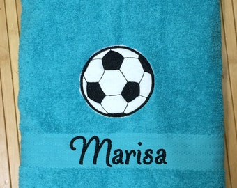 Personalized Soccer Sports Ball Bath Towel Embroidered Monogram
