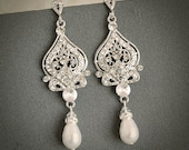 GRACE, Vintage Inspired Wedding Bridal Earrings, White, Ivory Pearl and Rhinestone Chandelier Wedding Earrings, Hollywood Glamour Jewelry