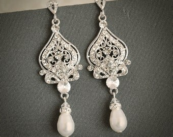 Wedding Earrings, Bridal Earrings, Swarovski Pearl Chandelier Earrings, Crystal Dangle Earrings,Vintage Style Wedding Bridal Jewelry, GRACE