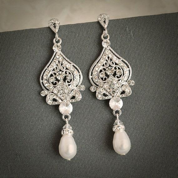 Wedding Earrings, Bridal Earrings, Swarovski Pearl Chandelier Earrings, Crystal Dangle Earrings,Vintage Style Wedding Bridal Jewelry, GRACE