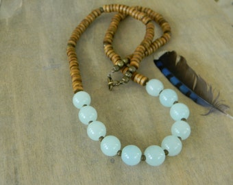 Bohemian jewelry long beaded necklace chunky necklace stone and wood necklace boho necklace