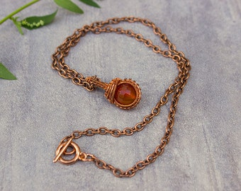 Faceted Carnelian Necklace  WireWrapped Pendant Copper Wire Wrapped Delicate Necklace