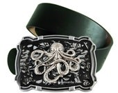 Steampunk Octopus Large Belt Buckle Inlaid in Hand Painted Enamel Black Ink Swirl Design Nautical Fantasy Inspired with Color Options