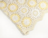 Crocheted Hexagon Baby Blanket - Natural White, Cream Pastel Yellow Handmade Children Afghan  Hexagon Afghan Wool Baby Mohair Blanket Throw