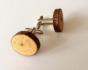 WOOD  CUFFLINKS / Real Wood Branch Cufflinks  / Rustic Wood Slice Cuff Links / Reclaimed Wood / Upcycled / Outdoorsman Gift / Gift Boxed