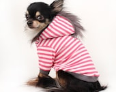 Dog Clothes Pink and White stripe Mohawk Dog Hoodie Cute jersey dog hoodie