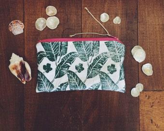 Small Zipper Pouch Clutch Handprinted Palms Print Green Pink Zipper Coastal Inspired Designs
