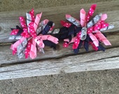 Bright Ideas Set of Large Korkers, Hairbow, Girls, Hair Accessories, Photo Prop, Hairbows, Navy Blue, Grey, Light Pink, Bright Pink, Fall