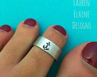Anchor Adjustable Hand Stamped Toe Ring