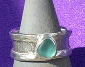 Aqua Sea Glass sterling Silver from Calif. Size 9 1/2 Wide Band