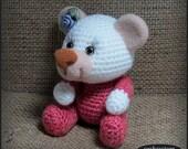 Crochet amigurumi teddy bear with needle felted face