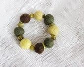 FINAL SALE Hand felted bracelet in yellow, brown & olive green (khaki) with acrylic beads. Forest colors. Felt balls, fiber art