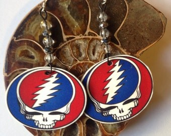 Grateful dead inspired steal your face earrings with quartz crystal beads