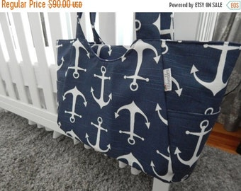 48 HOUR SALE ends 5/07 5 COLORS - Carry All Diaper Bag with Zip Top in Navy Anchors