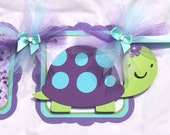 Turtle name banner, custom name banner, turtle birthday banner, turtle baby shower banner, turtle decor, nursery decor, purple and green