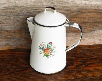 White Enamelware Coffee Pot with Floral Decal 1940s Kitchen Farmhouse Decor Country Cottage Chic White and Black Enamelware
