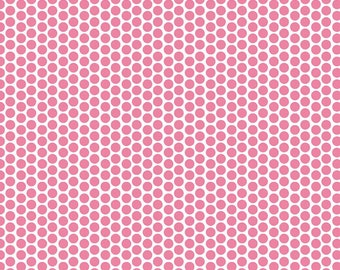 STORE CLOSING Sale Riley Blake Honeycomb Hot Pink Dot on White 1 yard
