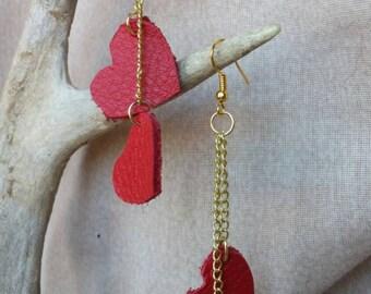Red leather heart dangle earrings