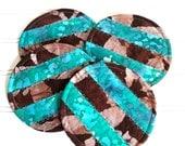 Fabric Coaster Set, Brown and Teal Batik Fabric, Mug Rugs