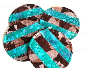 Fabric Coaster Set, Brown and Teal Batik Fabric, Mug Rugs