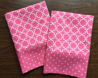 Pink and White Pillow Case  Set Standard/queen pink and white polka dot cuff