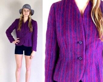 Sale vtg 70s purple TAILORED colorful striped MOHAIR JACKET blazer Large skinny boho