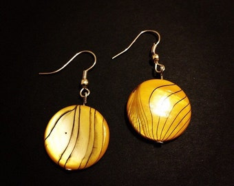 Yellow black zebra earrings