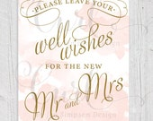Watercolor Guest Book Signage, 8x10 Wedding Signage, Well Wishes Sign, Blush and Gold Sign