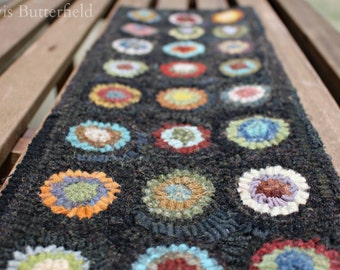 Primitive Folk Art Hooked Penny Rug Table Runner ~ Early Style