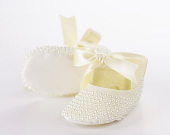 Pearl Covered Baby Shoes - Baptism Shoes - Pearl Ivory Booties - Bling Baby Shoe  - Princess Slippers - Christening Shoes - Keepsake Gift