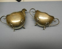 Antique Sterling Silver Creamer and Sugar Bowl