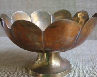 Round Scalloped Edge Brass Bowl--Vintage Brass Bowl