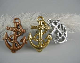 Nautical Anchor Pull Knob / Metallic Gold Silver or Copper Paint / Dresser Cabinet Knobs / Furniture Hardware Beach Decor / Nautical Home