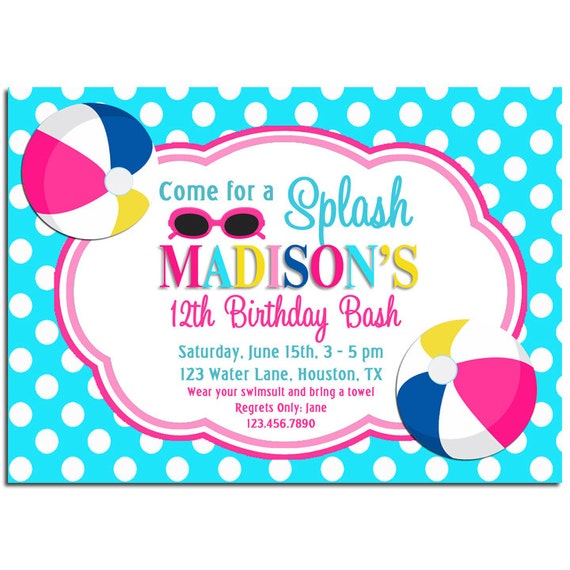 Splash Pool Party Invitation Printable Or By Thatpartychick