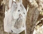 Vintage Ladies Fashion Shoulder Bag, Drawstring Bucket Bag, Gift for Sister, Cross body Purse Retro Fashion