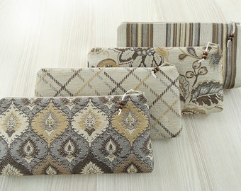 Set of 4 Bride Tribe Cosmetic Purses, Bridesmaids Proposal Gifts Mismatched Prints Gold and Brown Bags