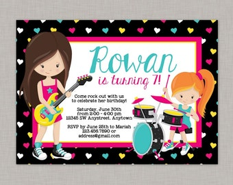 Rock Star Invitation, Girl Rock Star Invitation, Rock Star Birthday Invitation