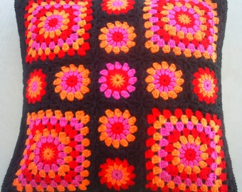 The pink orange red crochet granny square cushion cover / pillow cover